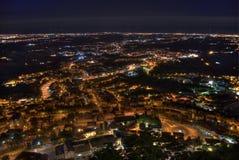's nachts het panorama van de stad Royalty-vrije Stock Afbeelding