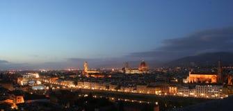 's nachts het panorama van Florence Royalty-vrije Stock Afbeeldingen