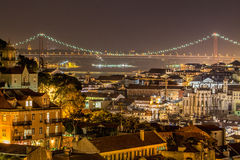 's nachts Lissabon Stock Foto
