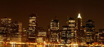 's nachts Manhattan stock afbeeldingen