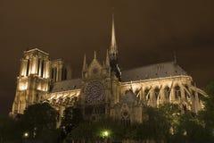 's nachts Notre Dame Royalty-vrije Stock Fotografie