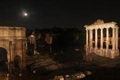 's nachts Rome Beroemde gebouwen van Rome in één beeld royalty-vrije stock foto