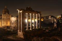 's nachts Rome Beroemde gebouwen van Rome in één beeld royalty-vrije stock afbeelding