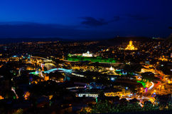 's nachts Tbilisi Royalty-vrije Stock Foto