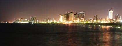 's nachts Tel Aviv royalty-vrije stock afbeelding