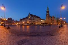 's nachts Wroclaw Het oude Vierkant van de Stad royalty-vrije stock afbeeldingen