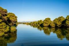 S-` naturliga Albufera parkerar lagun, Mallorca Arkivbild