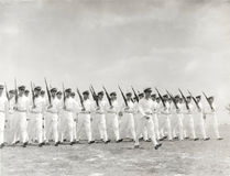 1930s naval officers marching Stock Photos