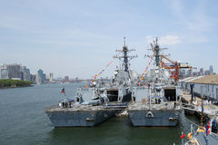 S Navy guided-missile destroyers USS Bainbridge and USS Farragut docked in Brooklyn Cruise Terminal during Fleet Week 2016 Stock Photo