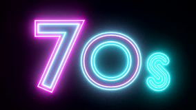 70s neon sign lights logo text glowing multicolor stock video