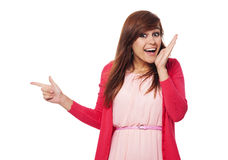 That's new!. Surprised woman pointing for something Royalty Free Stock Images