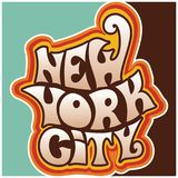 60s 70s new york city funky lettering. New York city.Classic psychedelic 60s and 70s lettering vector illustration