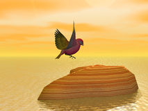 It's NiceTo Have A Rest. Rendered Bird landing on a rock at sea Royalty Free Stock Photos