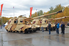 The 2S19. NIZHNY TAGIL, RUSSIA - SEP 26, 2013: The international exhibition of armament, military equipment and ammunition RUSSIA ARMS EXPO (RAE-2013). Russian Stock Photography