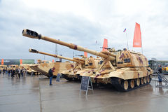 The 2S19. NIZHNY TAGIL, RUSSIA - SEP 26, 2013: The international exhibition of armament, military equipment and ammunition RUSSIA ARMS EXPO (RAE-2013). Russian Stock Photos