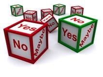 Sì no e forse taglia Immagini Stock Libere da Diritti