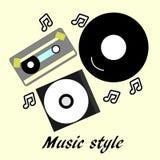 80s - 90 nostalgia style, Vintage retro flyer. 80s - 90 nostalgia music style, Vintage retro illustration. Compact disk, vinyl, cassette vector illustration