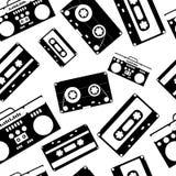 80s nostalgia style. Vintage retro 80`s  fashion seamless pattern. Black and white background Stock Image