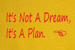 It`s Not A Dream, It`s A Plan concept. It`s Not A Dream, It`s A Plan written on yellow fabric textile texture.Business concept.Top view Royalty Free Stock Images