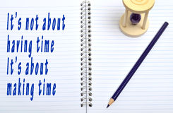 It's not about having time text on notebook Royalty Free Stock Images