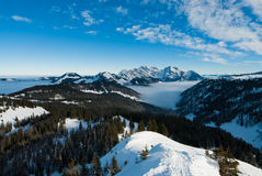 S�ntis panorama. Panoramic view of the S�ntis mountain peak, view from Fl�genspitz, Amden, Switzerland Royalty Free Stock Images
