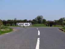 Sí o camino de no Foto de archivo