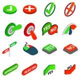 Sí o ningunos iconos fije, el estilo isométrico 3d Foto de archivo libre de regalías