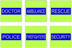S o s. Doctor ambulance rescue police firefighters security - emergency help Royalty Free Stock Images