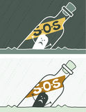 S.O.S colored cartoon Royalty Free Stock Image