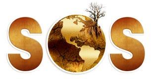 S.o.s dla ziemi, susza, zniszczenie kula ziemska Fotografia Stock