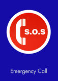 S.O.S. Emergency Call Sign. In car park lot stock images