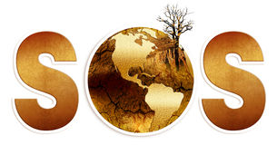 S.o.s for the land, drought, destruction of the globe Stock Photography