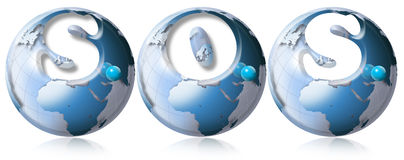 S.O.S. World globe. Three blue globes with S.O.S. and reflections Stock Photography