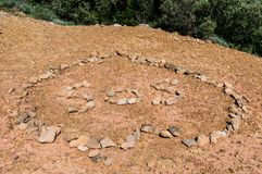 S.O.S. signal composed by stones. A S.O.S. signal composed by stones on the ground stock image
