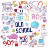 80s - objetos del garabato de 90s Handrawn ilustración del vector