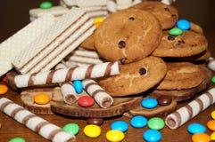 Słodcy gofry, ciastka, cukierki Zdjęcie Stock