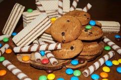 Słodcy gofry, ciastka, cukierki Fotografia Royalty Free