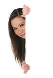 słodka kobieta znak gospodarstwa Fotografia Stock