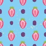 Słodki jagodowy bezszwowy wzór Zdjęcia Stock