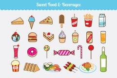 Słodki jedzenie i napoju wektoru set royalty ilustracja