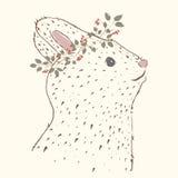 słodki królik czarny wizerunku portreta rocznika biel Obraz Royalty Free