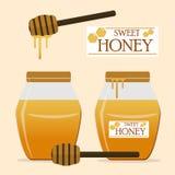 Słodki miodowy logo, kija miód Zdjęcia Stock