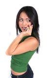 słodkie dziewczyny telefon komórki Zdjęcia Royalty Free
