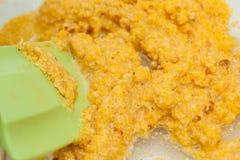 Słodkiej kukurudzy ciasta przygotowanie Fotografia Stock