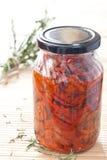 słojów wysuszeni pomidory Fotografia Stock