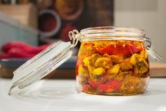słojów wysuszeni szklani pomidory Zdjęcie Royalty Free