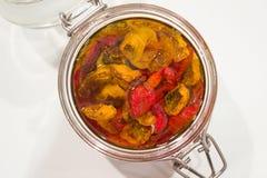 słojów wysuszeni szklani pomidory Obraz Stock