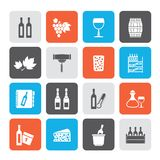 Wine industry objects icons. Vector icon set stock illustration
