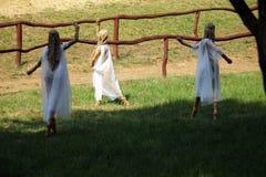 Słomiane dancingowe czarodziejki Zdjęcie Royalty Free
