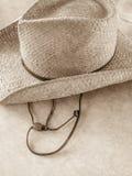 Słomiany kowbojski kapelusz z skóra sznurkiem Zdjęcie Royalty Free